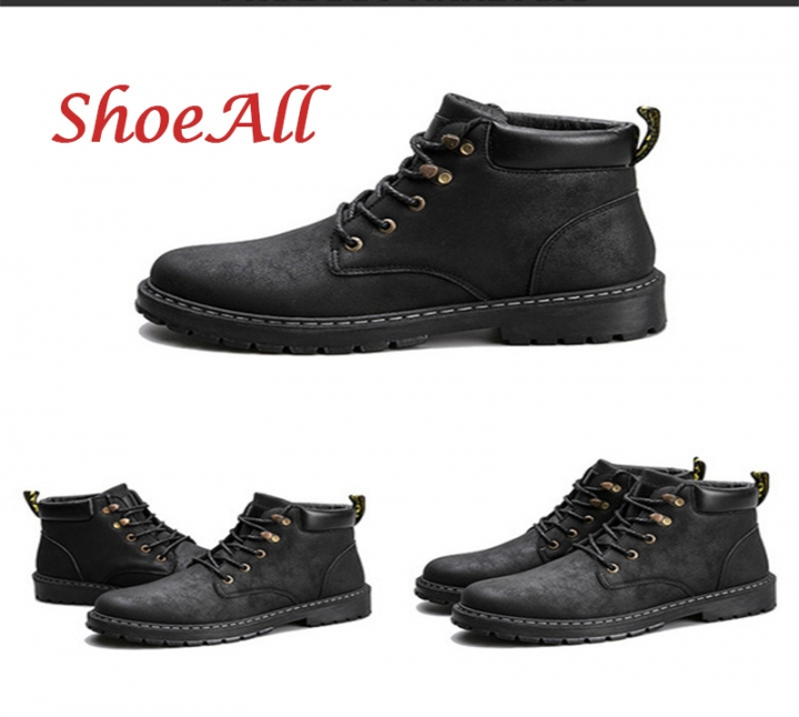 ShoeAll 1 Pairs Casual PU Leather Quality Boots For Men Lace Up Boot Shoes black 39