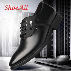 ShoeAll 1 Pair Classic Leather Flat Formal Official Light Men Shoe black 40 pu leather