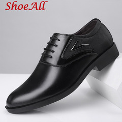 ShoeAll 1 Pair Classic Leather Flat Formal Official Light Men Shoe black 39 pu leather