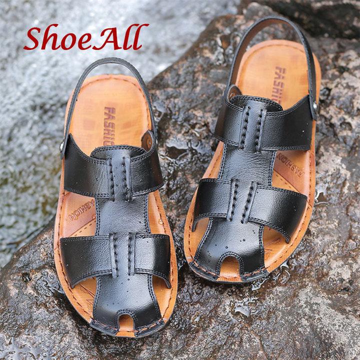ShoeAll 1 Pair Men Casual Sandals Open Leather Shoes Light Shoe Black 38