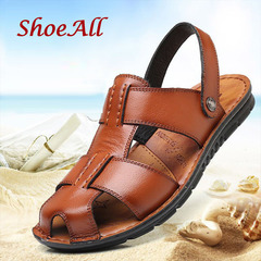 ShoeAll 1 Pair Men Casual Sandals Open Leather Shoes Light Shoe Brown 41