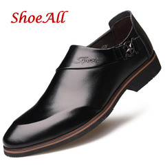 ShoeAll 1 Pair Classic Leather Flat Formal Official Light Men Shoe black 38 pu leather