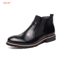 ShoeAll 1 Pair Classic Leather Boots Formal Official Light Men Shoe black 39
