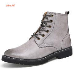ShoeAll 1 Pair Classic Leather Boots Formal Official Light Men Shoe grey 39