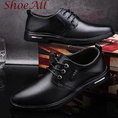 ShoeAll 1 Pairs Classic PU Leather  Flat Formal Light Men Shoe black 44 pu leather