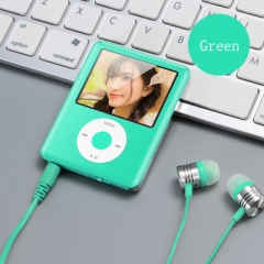 Mp3 Mp4 16G Music player with 2.0in screen,Support SD/TF/miniSD Card, recording,FMRadio Mini Digital green