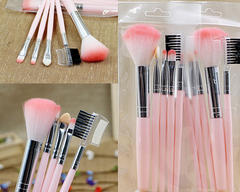 5Pcs Pocketable Professional Makeup Brushes Set Powder Foundation Eyeshadow Cosmetics pink