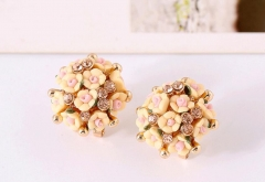 2019 Ceramic Rose Flower Women's Fashion Earrings light yellow normal