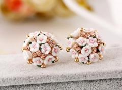 2018 Ceramic Rose Flower Women's Fashion Earrings light yellow normal