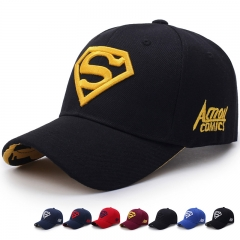 Men's and Women's Couples Superman Baseball Caps Fashion Casual Golf Hats for Men Black yellow embroidery one size
