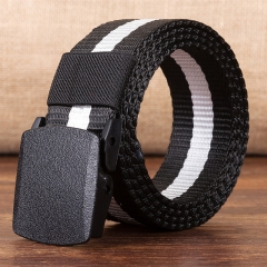 Promotional male high quality designer brand fashion casual automatic buckle men's belt Black and white one size