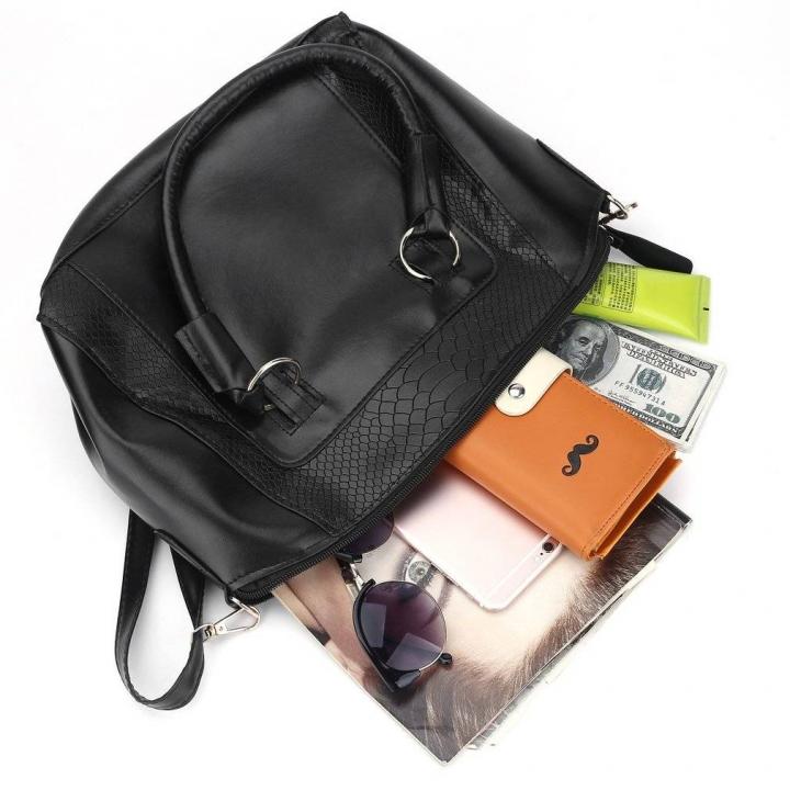 990879a9f839 Women Simple Fashion Boston Pillow Solid PU Leather Crossbody Tote Handbag  black 34 28