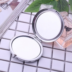 Gift Double sided small round mirror fold portable High grade crystal metal make up Small mirror green 7cm*7cm*1.5cm