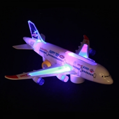 Airbus A380 Electric music flash airplane Children's electric toy plane Universal wheel aircraft white 31*6.6*8.7