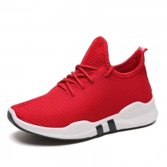 Women's Athletic fashion Net Surface Couples Running Shoes Breathable Lace-Up Sneaker Light Fitness Red 40