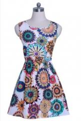 Summer large size vest dress Printed skirt Sleeveless floral chiffon dress S Sun flower