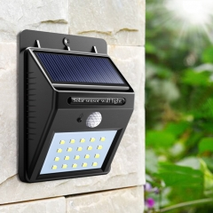 Solar Rechargeable LED Solar light Bulb Outdoor Garden lamp PIR Motion Sensor Wall light Waterproof Black 0.65W
