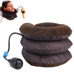 Neck traction inflatable cervical vertebra health massager headache back shoulder pain relief Brown