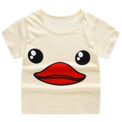 Boy Short Sleeve T-Shirt Cartoon Print T-Shirt Striped T-Shirt Cotton Girls Tops Children's Clothing yellow 90cm cotton