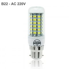 LED Lamp B22 Light AC 220V SMD 5730 Chandelier Spotlight 48 56 69 72LEDs Corn Bulb Home Decoration cold white B22 48leds
