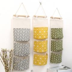 Home Storage Bag 3 Pockets Linen Hanging Storage Organizer Bag Folding Wardrobe Hang Closet Bag yellow 60.8*20cm