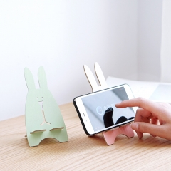 Creative DIY wooden mobile phone holder Cute rabbit phone holder Universal lazy mobile phone holder Pink 16.5*8cm