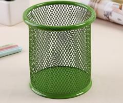 Creative Round shape grid metal Multifunction Pen holder fashion desktop Office Supplies Storage green