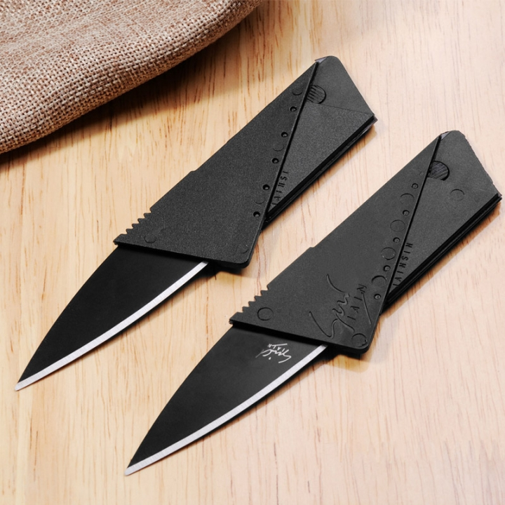 Card folding knife Mini card saber fruit knife Camping Stainless Handle Survival Knife Multifunction black 8.6×5.4×0.2cm