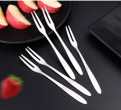 High Quality Stainless Steel Fruit Fork Two Tooth Dessert Fork Eating For People Convenient Use 5pcs 13.2cm