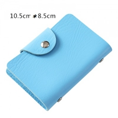 Men's Wallet Leather Visiting Cards Credit Card Holder Case Wallet Business Card Package Women's blue