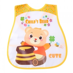 Baby Bib Imitation Silicone Waterproof Cartoon Feeding Rice Bibs Baby Rice Meals  Newborn Feeding Bear one size