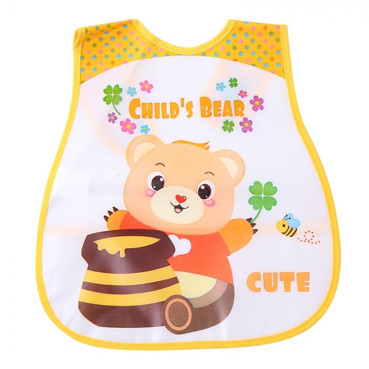 Baby Bib Imitation Silicone Waterproof Cartoon Feeding Rice Bibs Baby Rice Meals  Newborn Feeding Bear one size