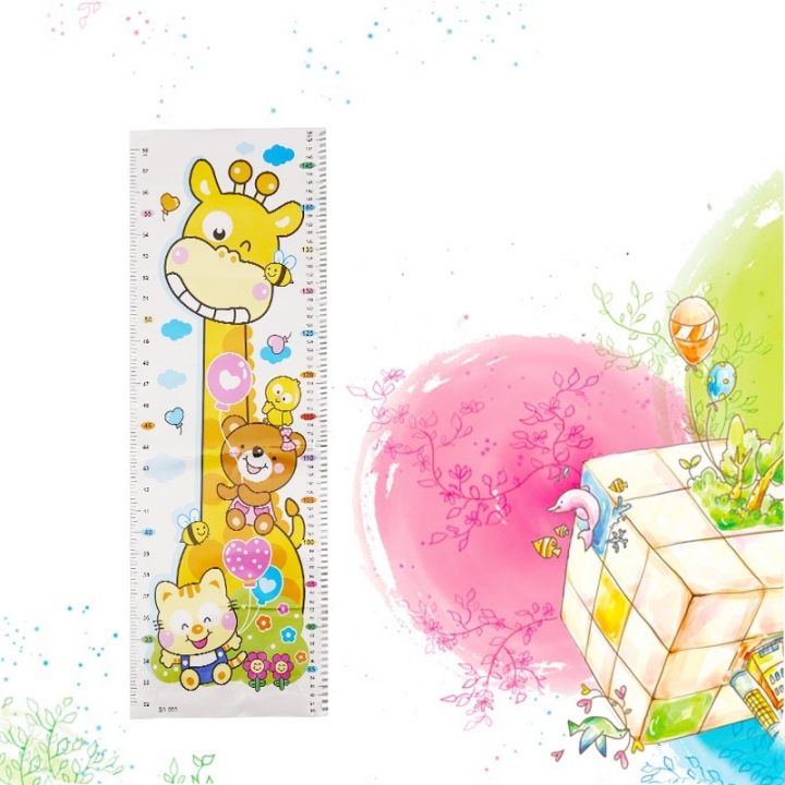 Cartoon Baby Growth Chart Heigh Ruler For Kids Room Self Adhesive Height Stadiometer Baby ruler as shown one size
