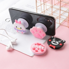 Silica gel Cartoon Airbag Mobile phone holder lovely adjustable Personality creativity random color 1PC