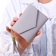 New Women Hasp Wallet Fashion Tri-Folds Clutch For Girls Coin Purse Card Holders lovely Grey 11*10*2cm