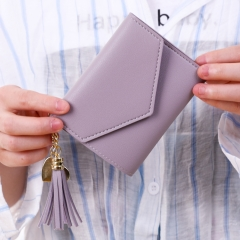 New Women Hasp Wallet Fashion Tri-Folds Clutch For Girls Coin Purse Card Holders lovely Light purple 11*10*2cm