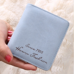 New ladies wallet Korean version Scrub leather wallet Retro student explosion wallet Short Button Blue 11*10*2cm
