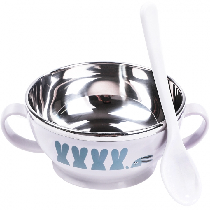 Stainless Steel Double Insulated Rice Bowls PP Spoon Baby Feeding Bowl Portable Girls Boys Children blue one size