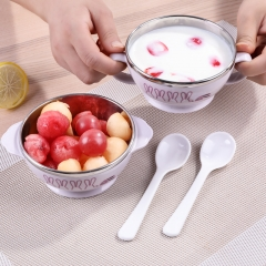 Stainless Steel Double Insulated Rice Bowls PP Spoon Baby Feeding Bowl Portable Girls Boys Children purple one size