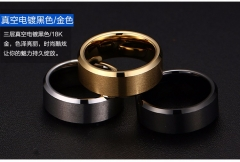 Ring Men Titanium Black Gold 7