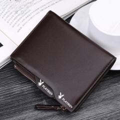 playboy Wallet Men's Wallet short vertical zipper wallet purse multifunctional business students coffee color Length 12.5cm width 10cm thickness 1.5cm