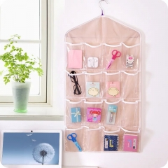 16 Pockets Multifunction Underwear Sorting Storage Bag Door Wall Hanging Closet Organizer bag pink