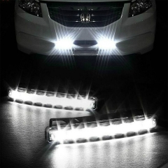 2pcs/lot 2 X Super Bright White Car 8-LED DRL Day Time Runing Light Driving light Kit Car Headlight