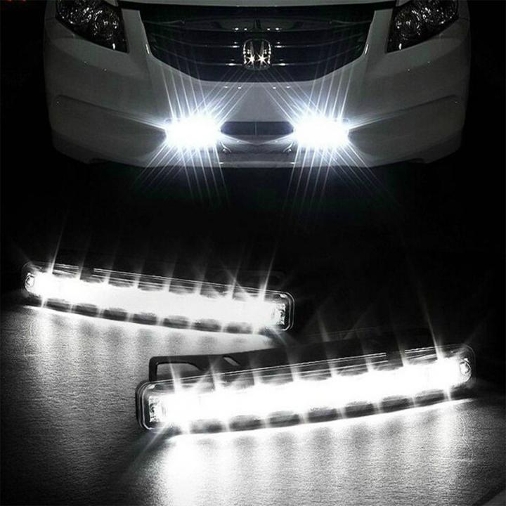 2pcs/lot 2 X Super Bright White Car 8-LED DRL Day Time Runing Light Driving light Kit Car Headlight
