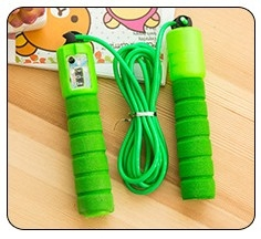 Professional electronic counting skipping adult pattern skipping student fitness jump rope green 287cm