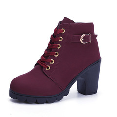 2018 autumn and winter new women's Martin boots thick with high heel tie Dark red 35