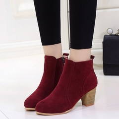 1 Pairs Plus Size 35-41 Suede Ankle Boots Women's Shoes Causal Classic Martin Boots Red wine 35