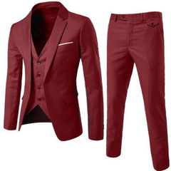 suits men's business casual clothing groomsman three-piece suit Blazers jacket pants trousers vest Red S