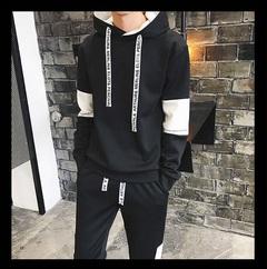 Men's t - shirt new sports leisure suit young men slim two pieces of thin clothes Hooded Sweatshirt black s