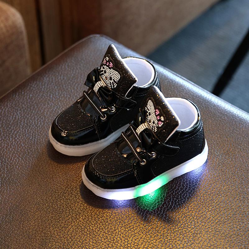 New Children s Sneakers Girls Flat Shoe With LED Light Princess shoes  Rhinestone Breathable shoe black 21   Kilimall Kenya 555c962729ac